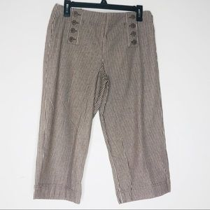 LARRY LEVINE brown striped cropped pants
